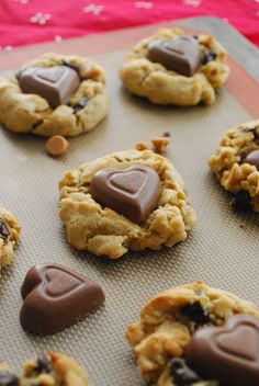 Chocolate Peanut Butter Heart Chip Cookies