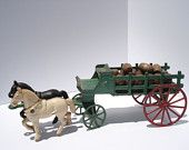 Antique Cast Iron Kenton Mechanical Toy 2 Horse Team Drawn StakeWagon Barrel Delivery