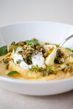 Poached Egg over Polenta with Olive-Herb Pesto from Danielle of The Trail of Crumbs — Breakfast with a Blogger