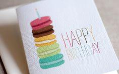 French Macaron Birthday Card.