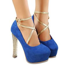 Party Buckle and Crystal Heel Design Women's Pumps, BLUE, 39 in Pumps | DressLily.com