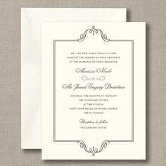 Charcoal Regal Frame Warm White Wedding Invitations