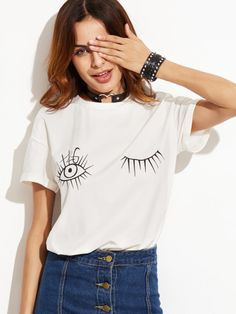 Shop White Wink Eyes Print Drop Shoulder T-shirt online. SheIn offers White Wink Eyes Print Drop Shoulder T-shirt & more to fit your fashionable needs. T Shirt Sport, T Shirt And Shorts, Shirt Print Design, Shirt Designs, Style Doux, Korean Shirts, Summer Outfits, Cute Outfits, Famous Women
