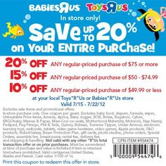 Toys R Us Coupon- Up to 20% off!