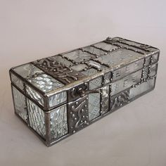 Stained glass Jewelry box  patchwork of clear patterned by minjean, $450.00