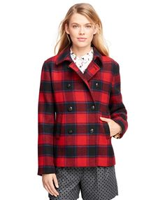 Wool Double-Breasted Buffalo Check Coat  Red-Black    (261)