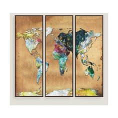Cost Plus World Market Watercolor Map Wall Art Set of Three ($200) ❤ liked on Polyvore featuring home, home decor, wall art, cost plus world market, map home decor, map wall art and framed wall art