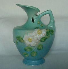 GORGEOUS Vintage Blue Roseville Pottery Ewer Pitcher 990-10 White Rose Pattern