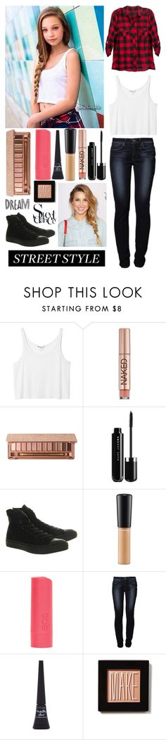 """Maddie Ziegler ~ Street Style"" by thewifeofliamjamespayne ❤ liked on Polyvore featuring Monki, Urban Decay, Converse, MAC Cosmetics, dELiA*s, Levi's, Maybelline and Make"