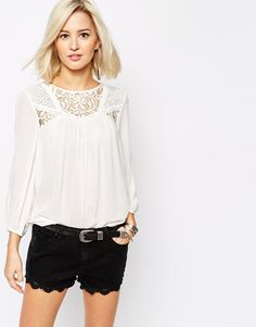 Image 1 of Vero Moda Lace Insert Blouse