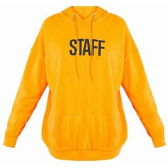 STAFF Slogan Orange Oversized Hoodie ($28) ❤ liked on Polyvore featuring tops, hoodies, shirts, sweatshirt, shirt top, orange hoodie, orange top, over sized shirts and hooded pullover