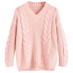 Cable Knit V Neck Chunky Sweater Pink ($27) ❤ liked on Polyvore featuring tops, sweaters, zaful, chunky sweater, pink v neck sweater, v-neck sweater, v-neck top and pink top