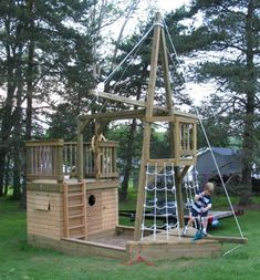 We are Family Designs Inc., providing plans for a Do-it-yourself play ship play structure. Kids Outdoor Play, Outdoor Play Spaces, Kids Play Area, Backyard For Kids, Outdoor Fun, Outdoor Games, Backyard Ideas, Backyard Playground, Backyard Games