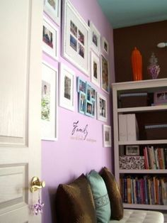 Purple home office walls Purple Home, Workplace Design, Home Office Design, Bedroom Wall, Girls Bedroom, Bedrooms, Bedroom Ideas, Master Bedroom, Lavender Walls
