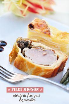 Filet mignon croute de foie gras et morilles Foie Gras, Great Recipes, Favorite Recipes, Xmas Food, Big Meals, Nouvel An, Food Porn, Good Food, Food And Drink