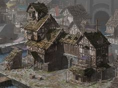 Urban city docks warehouse trading house run down canal coastal Dull Medieval Building by SUI of DrawCrowd Dark Fantasy, Fantasy Town, Fantasy House, Fantasy Map, Fantasy Places, Medieval Fantasy, Fantasy World, Medieval Houses, Medieval Town