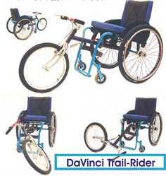 """The DaVinci Trail Rider attaches to your everyday wheelchair and turns it into a trike with a large 20"""" wheel at the front. This allows the wheelchair user to go off road or over rough ground much more easily."""