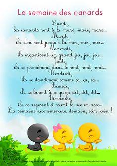 Paroles_La semaine des canards French Language Lessons, French Lessons, French Education, Kids Education, Teaching Kids, Kids Learning, French Poems, French Nursery, Montessori Baby