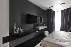 Diseño de dormitorio moderno color negro y blanco