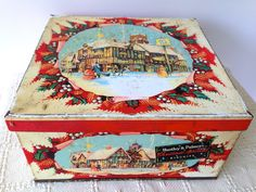 Vintage Large Huntley & Palmer's Xmas biscuit tin. Collectable tins/Biscuit tins/advertising tins. by trevoranna on Etsy