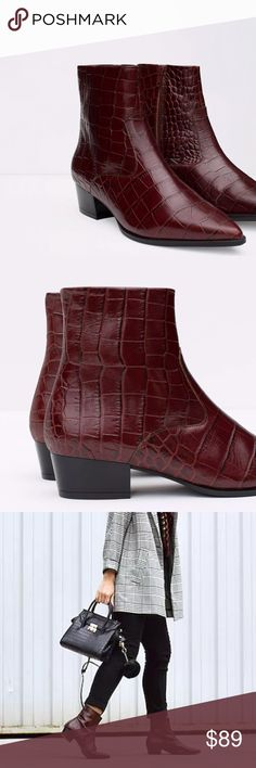 "ZARA RED ankle BOOTS booties mock croc 8/8.5 NEW New! Never worn! ZARA MOCK CROC dark red /burgundy ankle booties with zip size. Marked as a EURO 39, fits an 8, maybe 8.5. Stand 7.5"" tall in total height, these sassy hipster booties by ZARA are sure to make an entrance! (11.17) Zara Shoes Ankle Boots & Booties"