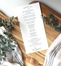 watercolor calligraphy ceremony program - calligraphy wedding program - watercolor wedding program   - from red clay paper