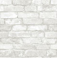 PAPIER PEINT BRIQUES BLANCHES : Papier peint blanc à motif de briques. Ce papier peint est non-encollé et non-tissé. Lavable et pelable.