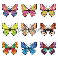 Набор бабочки — стоковая иллюстрация #71050465