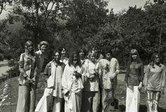 Patty Harrison, Nancy Cooke de Herrera, John Lennon, Paul McCartney, Maharishi Mahesh Yogi, George Harrison, Johnny Farrow, Mia Farrow, Donovan Leitch, Jane Asher, and Cynthia Lennon ~ Rishikesh 1968