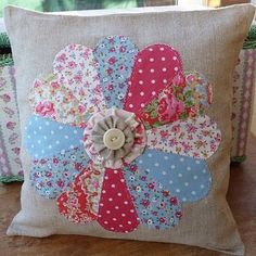 Sewing Cushions Patchwork Cushion by Beautiful Lily Applique Cushions, Cute Cushions, Patchwork Cushion, Sewing Pillows, How To Make Pillows, Quilted Pillow, Fabric Crafts, Sewing Crafts, Dresden Plate Quilts