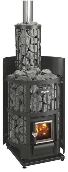 I love everything about this rock lined wood burning stove - every rustic cabin needs one of these - Outdoor fire Stove, Home Appliances, Wood, Kitchen Cook, House Appliances, Madeira, Woodwind Instrument, Domestic Appliances, Timber Wood
