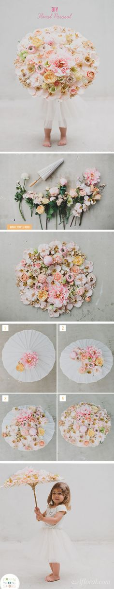 This adorable parasol is a fantastic DIY for your wedding.  Your flower girl will walk down the aisle in style with this sweet silk floral arrangement.  Designed by Green Wedding Shoes with silk flowers from Afloral.com.  Follow this simple DIY and find everything you need at Afloral.com