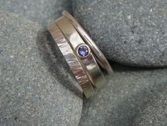 This dark Sapphire is set in a simple band ring, it has a beaten band and a thin band with it which can be worn in any combination. Size S I can make similar rings in other sises and with other stones But the price may differ Stacking Rings, Band Rings, Wander, Sapphire, Rings For Men, Stone, Jewelry, Men Rings, Jewlery