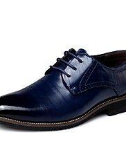 Masculino-Oxfords-Conforto Sapatos formais-Salto Baixo-Preto Azul Marrom Amarelo-Couro-Escritório & Trabalho Casual