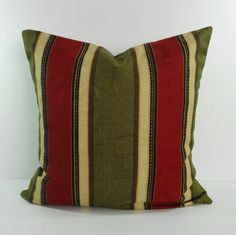 Decorative Pillow Cover, Dorset Scarlet Throw Pillow, Olive Green, Cranberry Red, 18 x 18