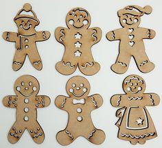 6 x wooden shapes, each is. Any laser processing marks can be removed by a light sanding or simply painting over. Snowflake Craft, Christmas Snowflakes, Xmas, Christmas Gingerbread Men, Gingerbread Cookies, Reindeer Head, Wooden Shapes, Shape Art, Head Shapes