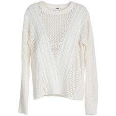 PAIGE Amory Sweater - Ivory (745 BRL) ❤ liked on Polyvore featuring tops, sweaters, crewneck, ivory, knitwear, stitch sweater, loose fitting sweaters, ivory cable knit sweater, ivory sweater and crew neck sweaters