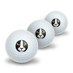 Black and White Cat Face - Pet Kitty Novelty Golf Balls 3 Pack