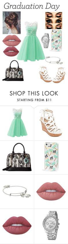 """Graduation day 🌺"" by alexponson ❤ liked on Polyvore featuring GUESS, Betsey Johnson, Skinnydip, Alex and Ani and Lime Crime"