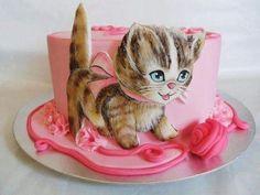 Little kitty by Veronika Cute Kitten Cake Birthday Cakes Girls Kids, Birthday Cake For Cat, Novelty Birthday Cakes, Novelty Cakes, Baby Cakes, Girl Cakes, Cupcake Cakes, Fondant Cupcakes, Kitten Cake