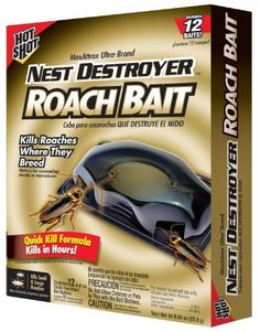 Hot Shot MaxAttrax Ultra Brand Nest Destroyer Roach Bait 2065W by Hot Shot. $6.95. Kills hidden roaches where they breed; Quick-kill formula-kills roaches in hours; Lasts up to 3 months; Attractant gets roaches to the bait fast, so they die fast; Roaches eat bait and carry the active ingredient to where they breed, destroying the nest. Keep bugs where they belong � out of your home. Hot Shot brand's complete line of fast-killing formulas with long-lasting resi...