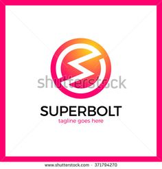 Circle Bolt Logo - Letter S. Simple line flash logotype - stock vector