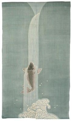 too spendy---Japanese Koi Carp & Waterfall Noren: Designed By Rakushian of Kyoto Japanese Koi, Japanese Design, Japanese Culture, Koi Art, Fish Art, Japanese Textiles, Japanese Prints, Japanese Painting, Chinese Painting