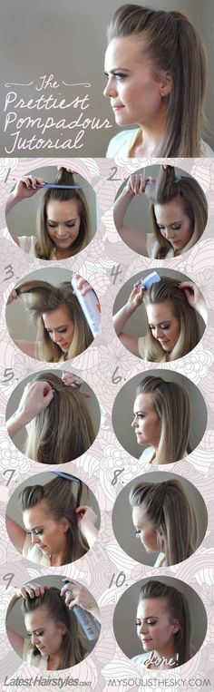 The Easiest, Prettiest Pompadour - just did this and it was easy and looks pretty with a few curls in the hair! Love it for a casual or dressed up night out!