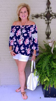 50 IS NOT OLD | AN OUTFIT WILL AFFECT YOUR MOOD | Shorts | Off the shoulder | monogrammed | Fashion over 40 for the everyday woman