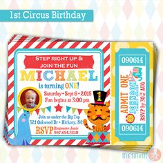 Circus Birthday Invitation Carnival Theme Carnival themes
