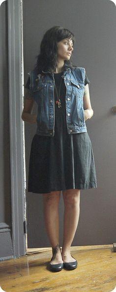 jacket/kids' thrift pins/mostly vintage dress/Beacon's Closet resale shoes/sweatshop