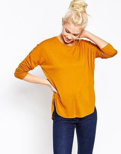 Monki+Long+Sleeve+Dip+Hem+T-Shirt