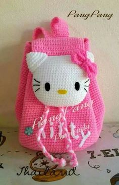 Ideas crochet purse kids hello kitty for 2019 Crochet Fabric, Crochet Gifts, Cute Crochet, Crochet For Kids, Knit Crochet, Crochet Patterns, Crochet Shawl, Crochet Ideas, Hello Kitty Backpacks