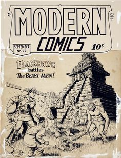 Original Blackhawk covers by Reed Crandall from Modern Comics N°77, published by Quality Comics (1948)